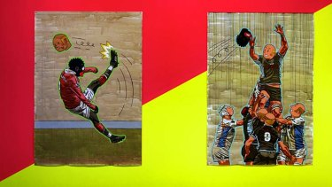 """Taboo ... Anton Kannemeyer 's """"Untitled""""(soccer) and """"Untitled """"(rugby)."""