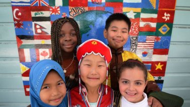 Students gather for a multicultural day at school.