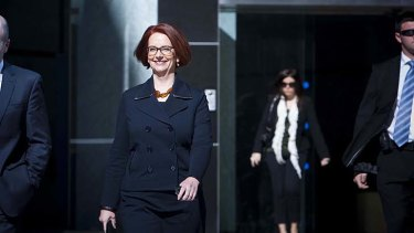 """Prime Minister of Australia Julia Gillard speaks to the media in Perth, Wednesday, June 12, 2013. Prime Minister Julia Gillard says a Liberal Party fundraiser menu which demeans her is part of a """"pattern of behaviour"""" by Tony Abbott. (AAP Image/Tony McDonough) NO ARCHIVING ."""