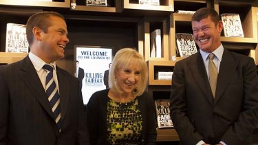 Power players: Lachlan Murdoch and James Packer with the book's author Pamela Williams.