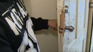 The front door of the Thomastown home that was broken into by an armed gang.