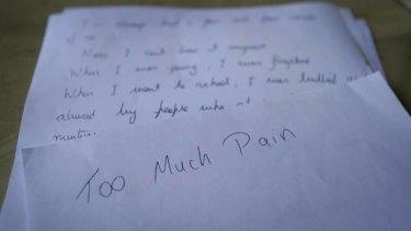 Anguish ... the note left by John Pirona.