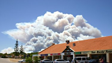 Smoke rises above Two Rocks in this photo sent in by the <A href=www.suncitynews.net.au>Sun City News</a>.