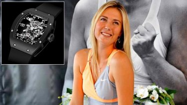 Maria Sharapova and inset Rafael Nadal's Richard Mille watch.