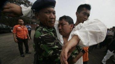 One of the survivors at Merak port.