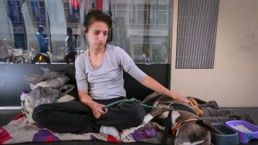 Emily Stevens with her dog Jesse begging at the Bourke Street Mall.