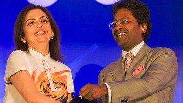 Nita Ambani (L), owner of the Mumbai Indians, with Lalit Modi, chairman and commissioner of the IPL.
