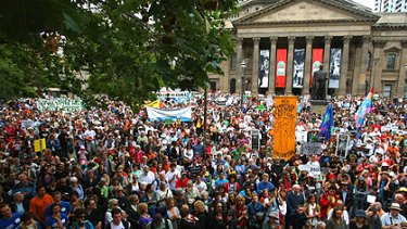 An estimated 40,000 people converged outside the State Library as part of this year's ''re-energised'' Walk Against Warming global climate rally.
