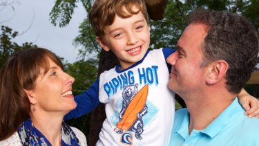Thomas Ledwith, with parents Melinda and Gregg, is a Tumour Bank donor.