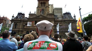 Protest ... Rabbitohs' fans at the Save the Game rally in 2000.