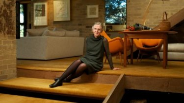 Mary Featherston inside her mid-century house designed by Robin Boyd.