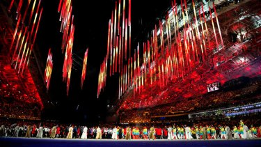 Athletes parade during the closing ceremony.