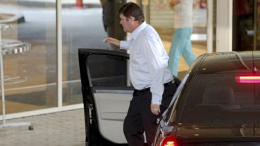 James Packer arrives at the Mater hospital in North Sydney after Erica Baxter gave birth to a baby boy.