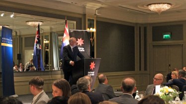 Treasurer Scott Morrison addresses a gathering of Australian business leaders at the Hyatt Regency London.