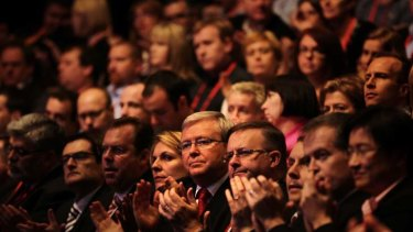 Power brokers ... delegates, including Kevin Rudd, centre, at the Labor Party conference.