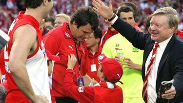 Happier times: Sydney coach Paul Roos and chairman Richard Colless.