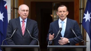 Tony Abbott and Warren Truss announce the decision to proceed with the Badgerys Creek airport.