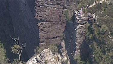 The cliff that the pair were attempting to abseil.