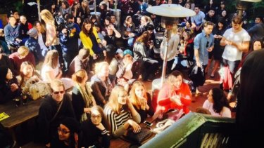 Crowds at the Coldplay filming at the Courthouse Hotel in Newtown.