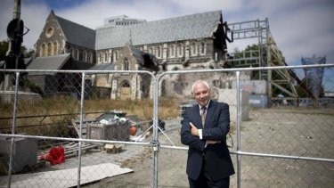 Former Christchurch mayor Bob Parker in front of the cathedral.