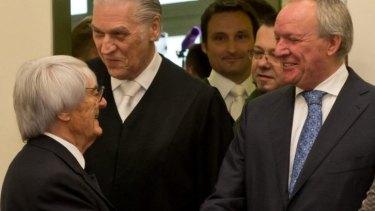Bernie Ecclestone meets Manfred Noetzel, the leading chief prosecutor in his bribery trial.