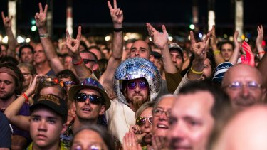 Crowds flock to the annual Bluesfest Byron Bay.
