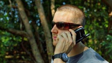 Sat phone: the Thuraya iPhone sleeve in use.