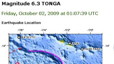 The location of the second quake.