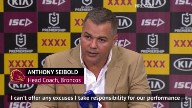 @brisbanebroncos Head Coach Anthony Seibold has defended his side after their 59-0 loss to the Roosters. #NRL