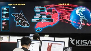 South Korean employees monitor possible ransomware attacks at the Korea Internet and Security Agency in Seoul earlier this year.