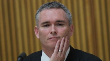 Member for Dobell, Craig Thomson, during a public hearing at Parliament House yesterday.