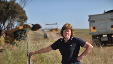 Don't cross the fence: Kate Tubbs insists the farming community of Parwan, on the southern fringe of Bacchus Marsh, will rally to prevent coal mining on its land.