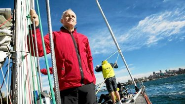 Smooth sailing: Malcolm Turnbull out to sea.