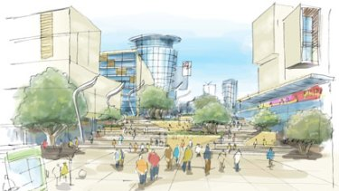 An artist's impression of one of the redeveloped squares in the Link project to connect Perth and Northbridge.