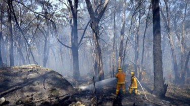 Firefighters protecting a property off Feeney's Lane in Benloch, where fires are still not under control.