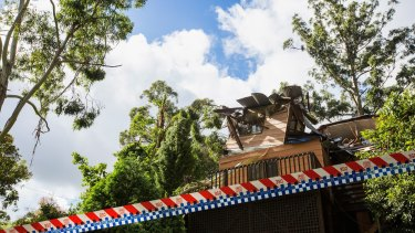 The house where a boy was killed in violent storms over the Dandenong Ranges.