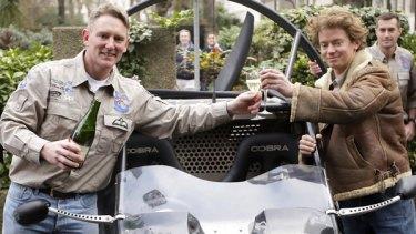 Skycar's  Neil Laughton (left) with  inventor Giles Cardozo.