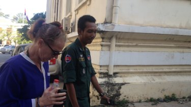 Australian nurse Tammy Davis-Charles arrives at court in Phnom Penh on January 8, 2018. Her appeal against an 18-month jail sentence for surrogacy offences was dismissed.