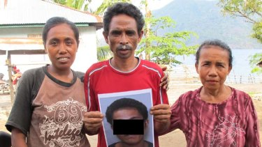 Injustice … the sister, uncle and aunt of an Indonesian orphan who was wrongfully held in detention for two years in Silverwater jail.