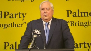 Clive Palmer address the media on Friday.