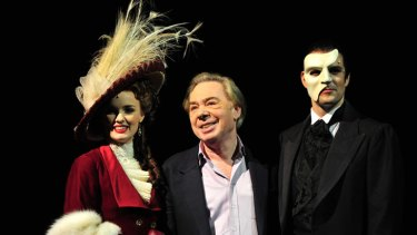 Andrew Lloyd Webber with stars Anna O'Byrne and Ben Lewis.
