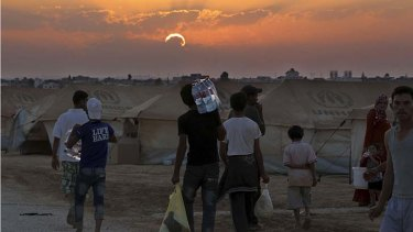 Exodus ... Syrian refugees at a camp in the Jordan city of Mafraq near the Syrian border.