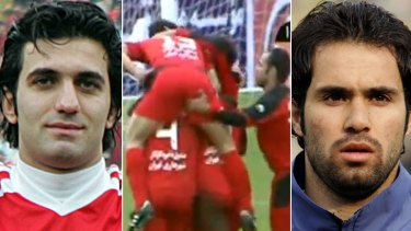 """Immoral acts ... Iranian footballers  Sheys Rezaei  (left) and Mohammad Nosrati. Iran's football federation has imposed indefinite bans on the two players for their """"inappropriate"""" behaviour during goal celebrations."""