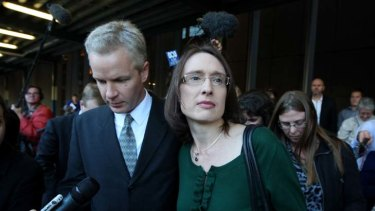Jeffrey Gilham and his wife Robecca leaving the Supreme Court this afternoon after being acquitted of murder.