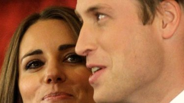 Very much in charge . . . Prince William and his fiancee.