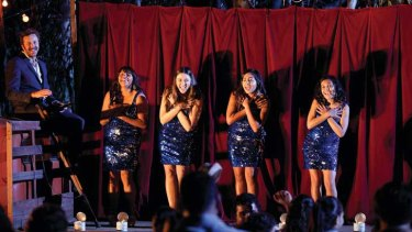 Shining... Chris O'Dowd, Deborah Mailman, Shari Sebbens, Jessica Mauboy and Miranda Tapsell on the Sydney set of <i>The Sapphires</i> - and one version of the famous sequinned dress.