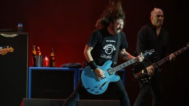 The Foo Fighters perform in Brisbane on Tuesday night.