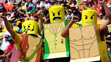Cricket fans show their angry Lego faces.