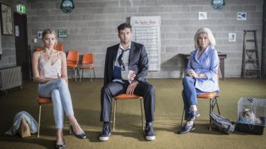 Sobering: Abby Lee, Patrick Brammall and Robyn Nevin in <i>Ruben Guthrie</i>.