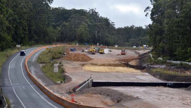 Herons creek bypass where waste was uncovered by road workers yesterday.